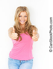 Beautiful young woman smiling with thumbs up
