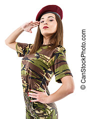 beautiful young woman soldier in military camouflage outfit