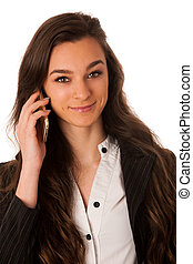 Beautiful young woman speaking on a cell phone isolated over white background