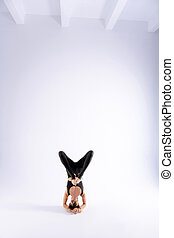 Beautiful young woman standing on her head