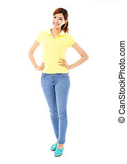 Beautiful young woman standing,isolated on white