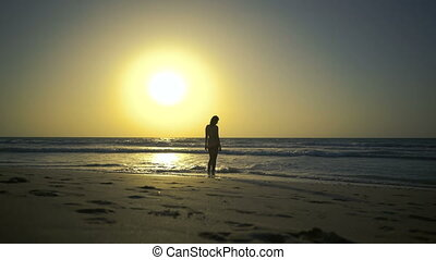 Beautiful young woman stands on the golden sandy beach looks at amazing sunset, dreams about love, thinks about sense of life, feels freedom. Sexy girl is looking at waves, sea, ocean