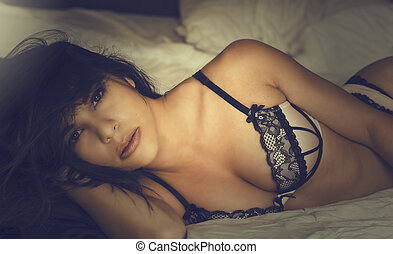 Beautiful young woman in lingerie