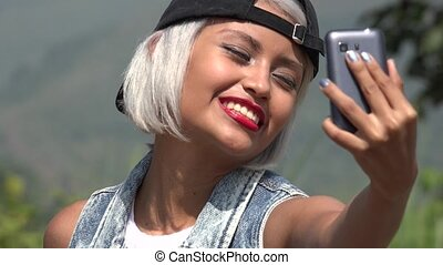 Beautiful Young Woman Taking Selfy