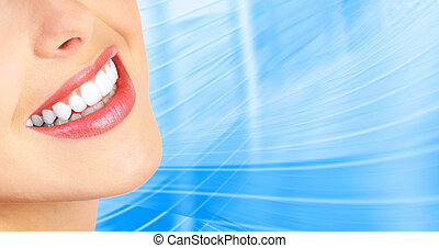 woman teeth - Beautiful young woman teeth. Over blue ...