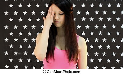 beautiful young woman think sad loo