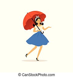 Beautiful young woman walking with red umbrella, girl dressed in retro style vector Illustration