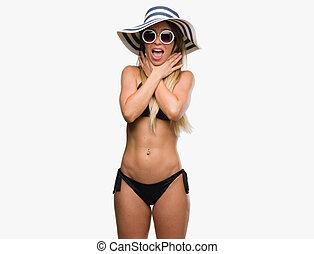 woman strangled with bikini