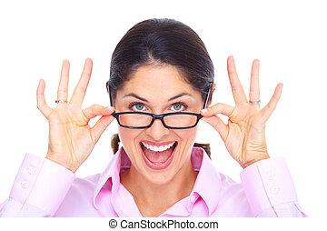 Beautiful young woman wearing glasses portrait. - Beautiful...