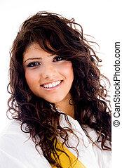 beautiful young woman wearing stylist dress