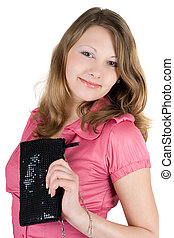 Beautiful young woman with a handbag. Isolated