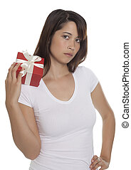 Beautiful young woman with a present