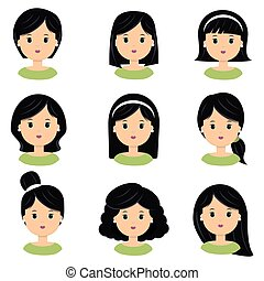 Beautiful young woman with black hair. Different hairstyle and haircuts for salon vector icon set, isolated on white background.