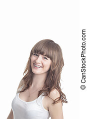 Beautiful Young Woman With Brackets on Teeth Smiling Happily