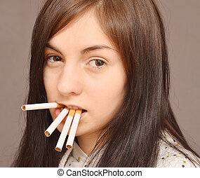 woman with cigarettes
