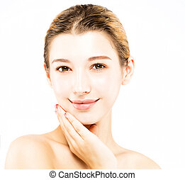 beautiful young woman with clean face