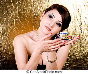 young woman with coffee cup