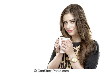 Beautiful young woman with cup of coffee, isolated on white back