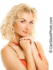 Beautiful young woman with curl hair