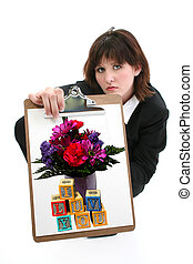 Beautiful Young woman with Drawing of flowers and blocks.