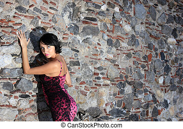 beautiful young woman with dress