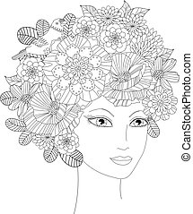 beautiful young woman with flowers for your coloring book