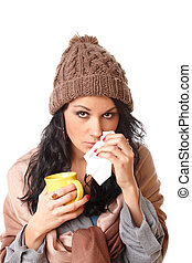 Beautiful young woman with flu symptom