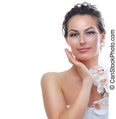 Beautiful Young Woman With Fresh Healthy Skin. Spa