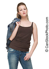 Beautiful Young Woman with Jacket over Shoulder