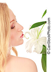 Beautiful Young Woman With Lily Flower