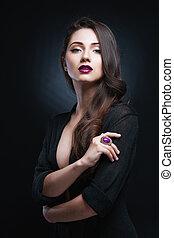 Beautiful young woman with long hai
