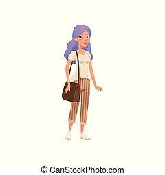 Beautiful young woman with long purple dyed hair, stylish girl in fashion clothes vector Illustration on a white background