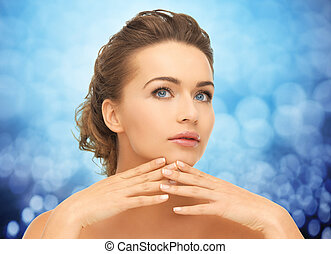 beautiful young woman with manicure