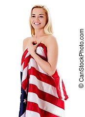 Beautiful young woman with national usa flag isolated on white background.