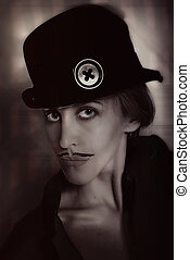 woman with painted mustache in hat