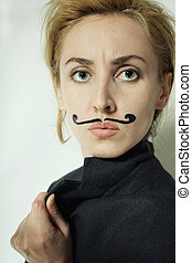 woman with painted mustache