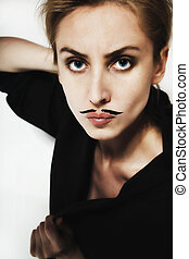 beautiful young woman with painted mustache