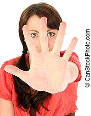 Beautiful Young Woman with Palm Towards Camera - Beautiful...