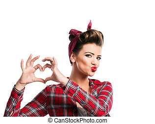 Beautiful young woman with pin-up make-up and hairstyle....