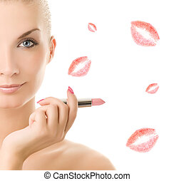 Beautiful young woman with pink lipstick. Isolated on white...