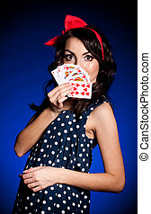 young woman with Playing cards