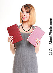 Beautiful young woman with red books isolated