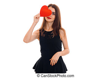 beautiful young woman with red lips celebrating valentines day with hearts isolated on white background