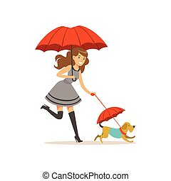 Beautiful young woman with red umbrella walking with her dog flat vector illustration