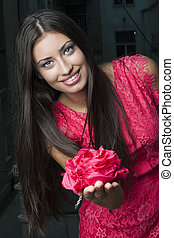 Beautiful Young Woman with Rose