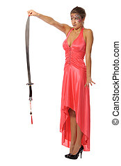 Beautiful young woman with sword