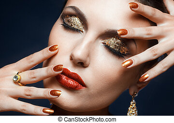 shining face makeup - Beautiful young woman with vogue...