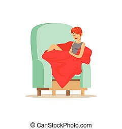 Beautiful young woman wrapped in red blanket sleeping on armchair, relaxing person vector Illustration