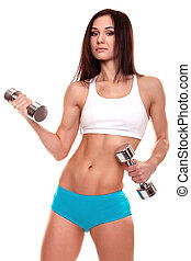 Beautiful young women exercising