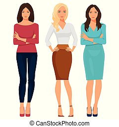 Beautiful young women in elegant office clothes. Vector illustration.
